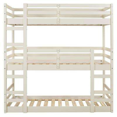 Solid Wood White Twin Triple Bunk Bed