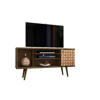 Liberty 53.14 in. Rustic Brown and 3D Brown Print 5-Shelf TV Stand