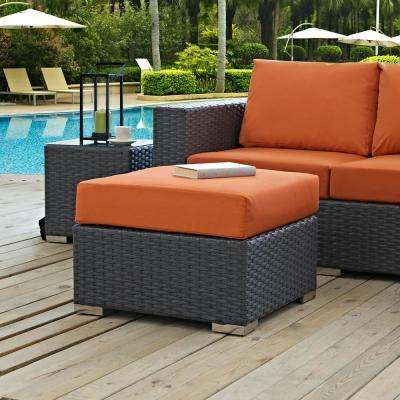 Sojourn Wicker Outdoor Patio Ottoman with Sunbrella Canvas Tuscan Cushion