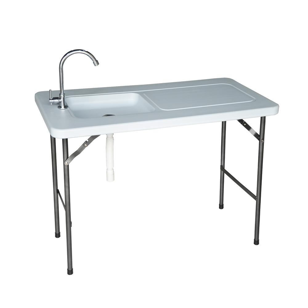 Folding Multipurpose Fish and Game Utility Table with Stainless Steel Faucet