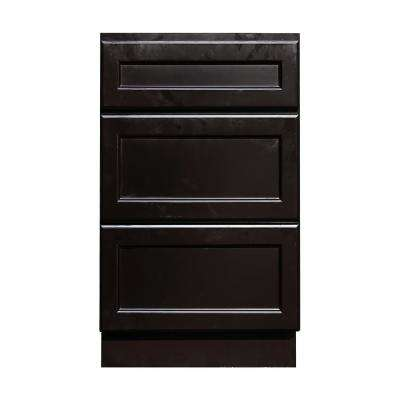 18 in. W x 21 in. D x 34.5 in. H Ready to Assemble Vanity Cabinet with 3-Drawers in Dark Espresso