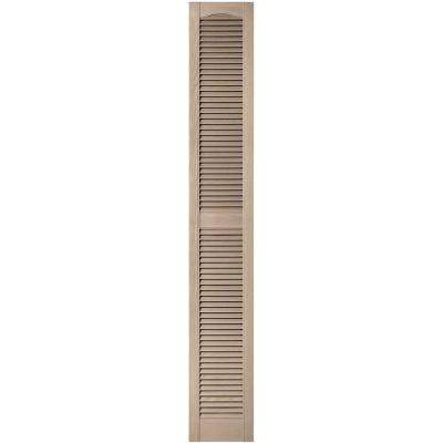12 in. x 80 in. Louvered Vinyl Exterior Shutters Pair in #023 Wicker
