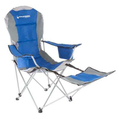 Blue Heavy-Duty Camp Chair with Footrest