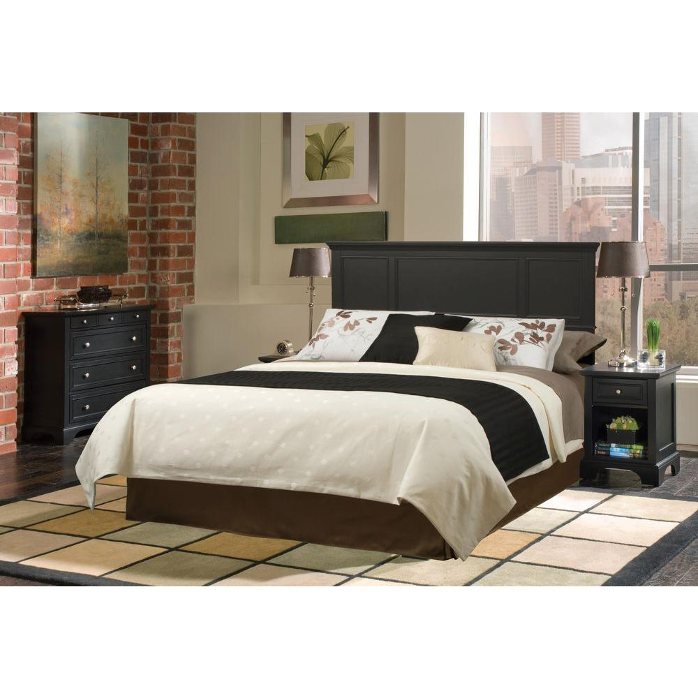 home styles bedford 4 piece black queen bedroom set 5531 5017 the home depot. Black Bedroom Furniture Sets. Home Design Ideas