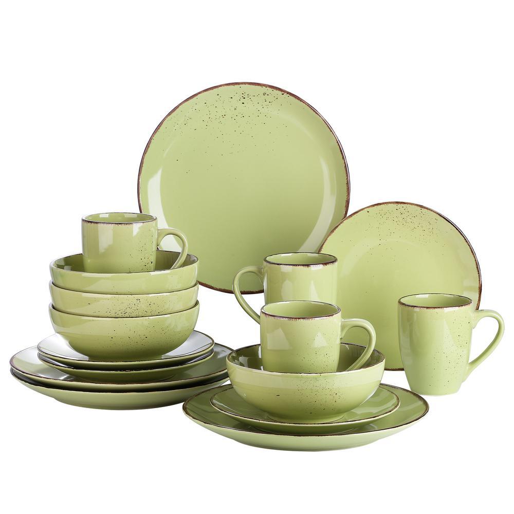 16- Piece Modern Green Porcelain Dinnerware Sets (Service for Set for 4)