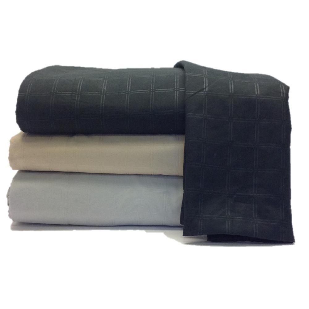 High Point 4-Piece Black Embossed Microfiber Queen Sheet Set