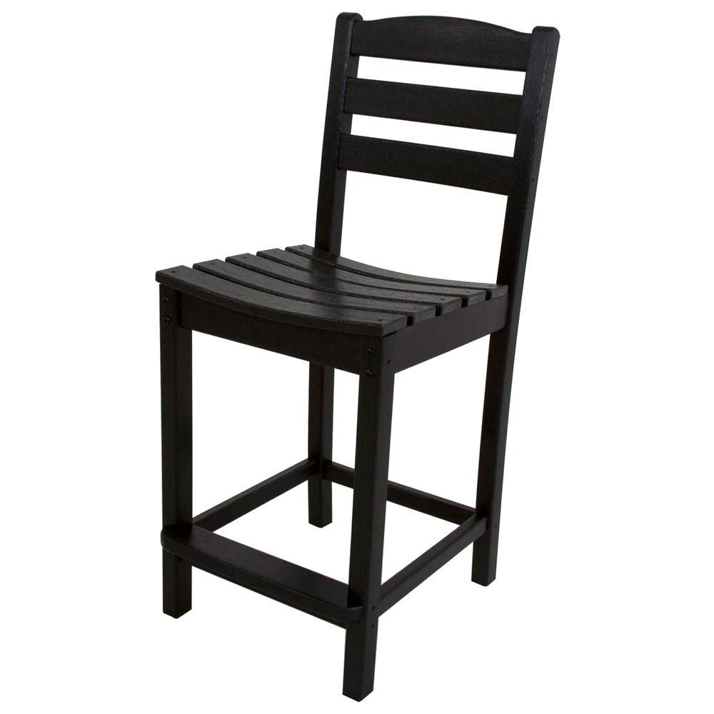 La Casa Cafe Black Plastic Outdoor Patio Counter Side Chair