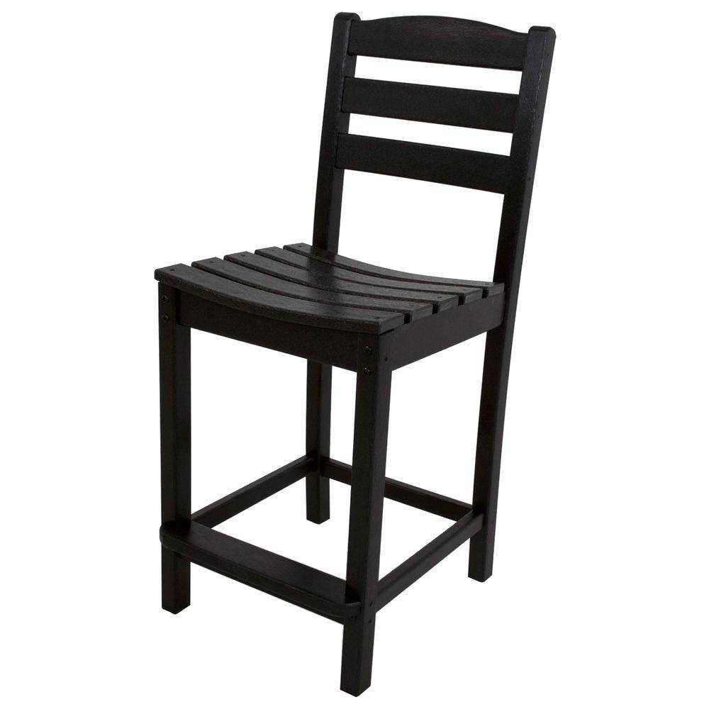 La Casa Cafe Black Plastic Outdoor Patio Counter Side Chair