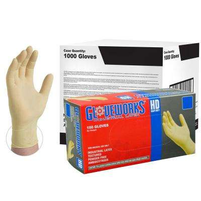 Medium Heavy Duty Ivory Latex Industrial Powder-Free Disposable Gloves (10-Boxes of 100-Count)