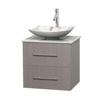 Centra 24 in. Vanity in Gray Oak with Marble Vanity Top in Carrara White and Sink
