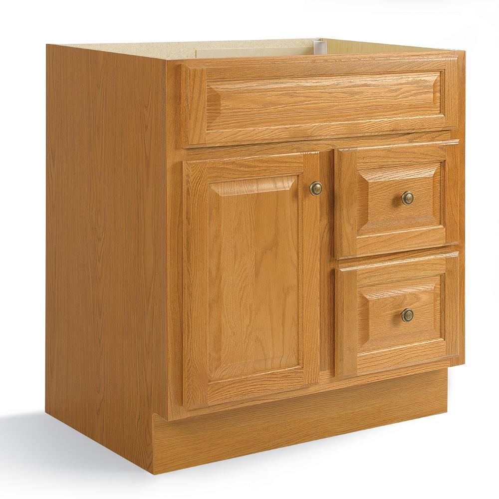 Hampton 30 in. W x 21 in. D x 33.5 in. H Bath Vanity Cabinet Only in Oak