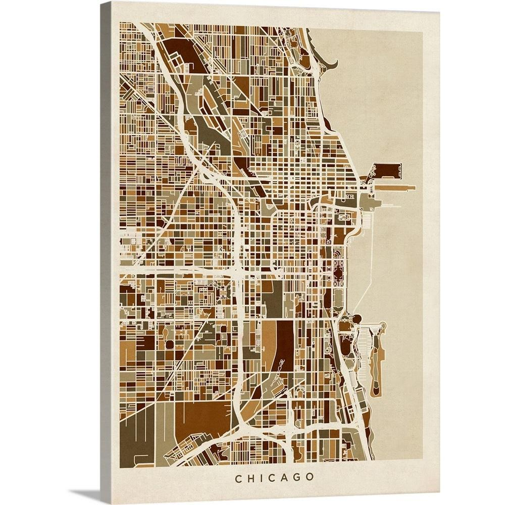 Chicago Map Streets.Greatbigcanvas 18 In X 24 In Chicago City Street Map By Michael