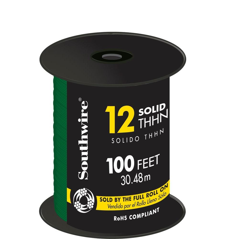 Southwire 100 ft. 12 Green Solid CU THHN Wire
