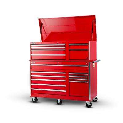 Tech Series 56 in. 16-Drawer Tool Chest and Cabinet Combo in Red