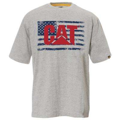 Old Glory Men's 2X-Large Heather Grey Cotton Short Sleeved T-Shirt
