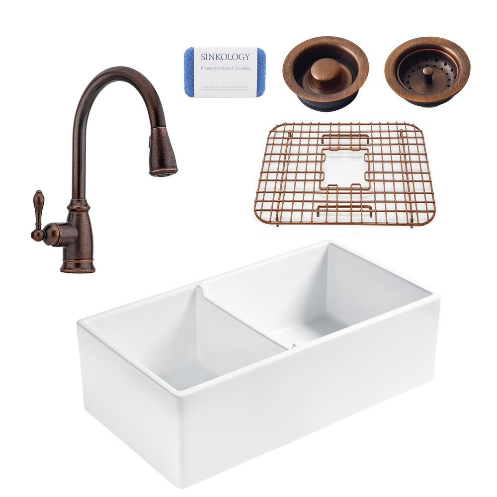 SINKOLOGY Brooks All-in-One Farmhouse Apron Fireclay 33 in. 60/40 Double Bowl Kitchen Sink with Rustic Bronze Faucet and Drains