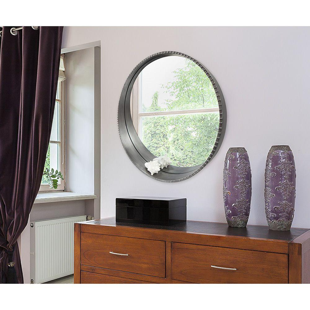 9351d66410 MCS Summit 30 in. H x 30 in. W Round Framed Mirror with Built-in ...