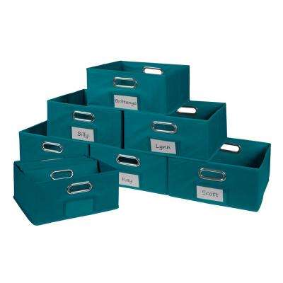H Teal Folding Fabric Bin (12