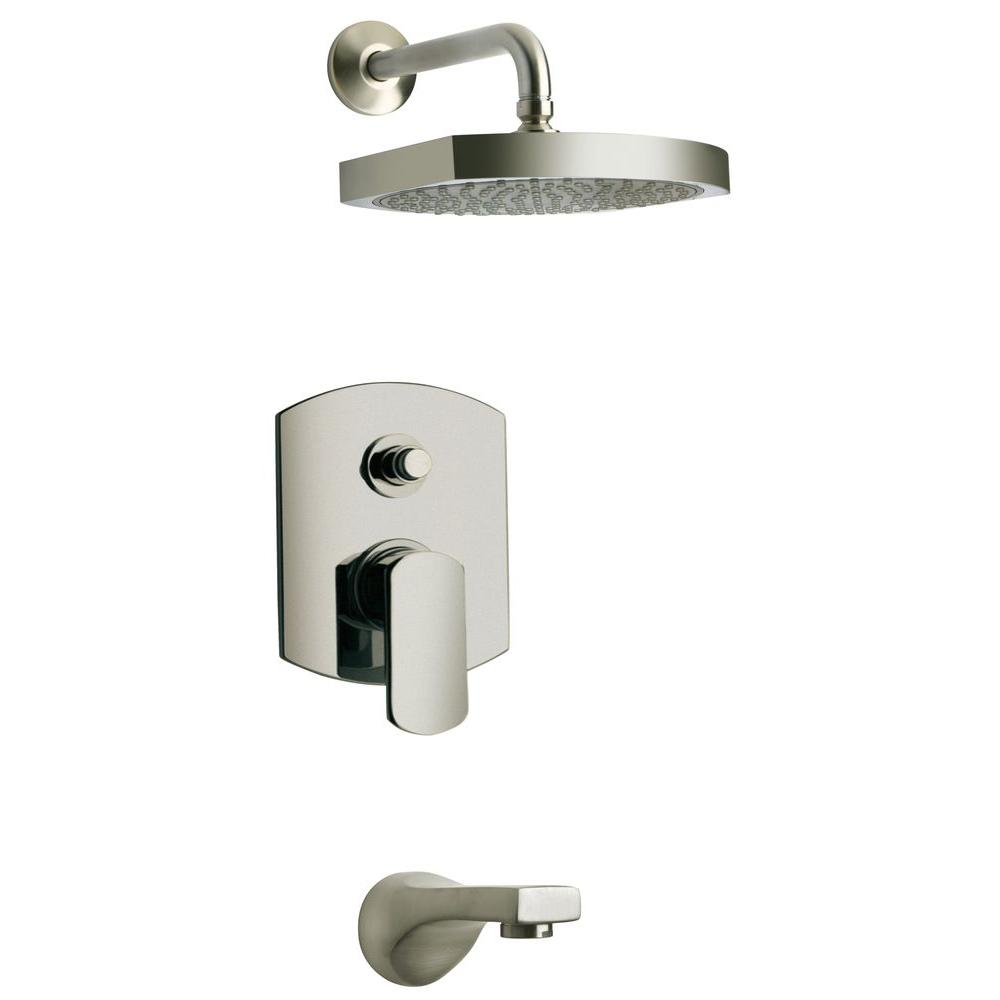 Novello 1-Handle 1-Spray Pressure Balance Tub and Shower Faucet in Brushed