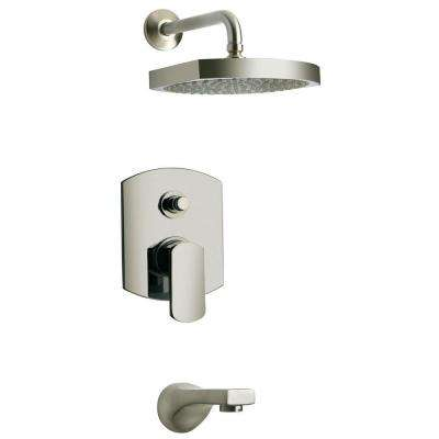 Novello 1-Handle 1-Spray Pressure Balance Tub and Shower Faucet in Brushed Nickel