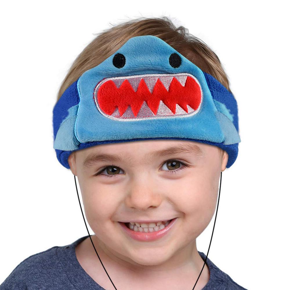 Kids Headphones Volume Limiter Machine Washable Fleece Headphones for Children Travel/Home w/ Adjustable Band (Shark)