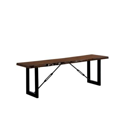 Benjara Black and Brown Rectangular Metal Frame Bench with Wooden Seat 14 in. L x 54 in. W x 17.88 in. H, Brown and Black