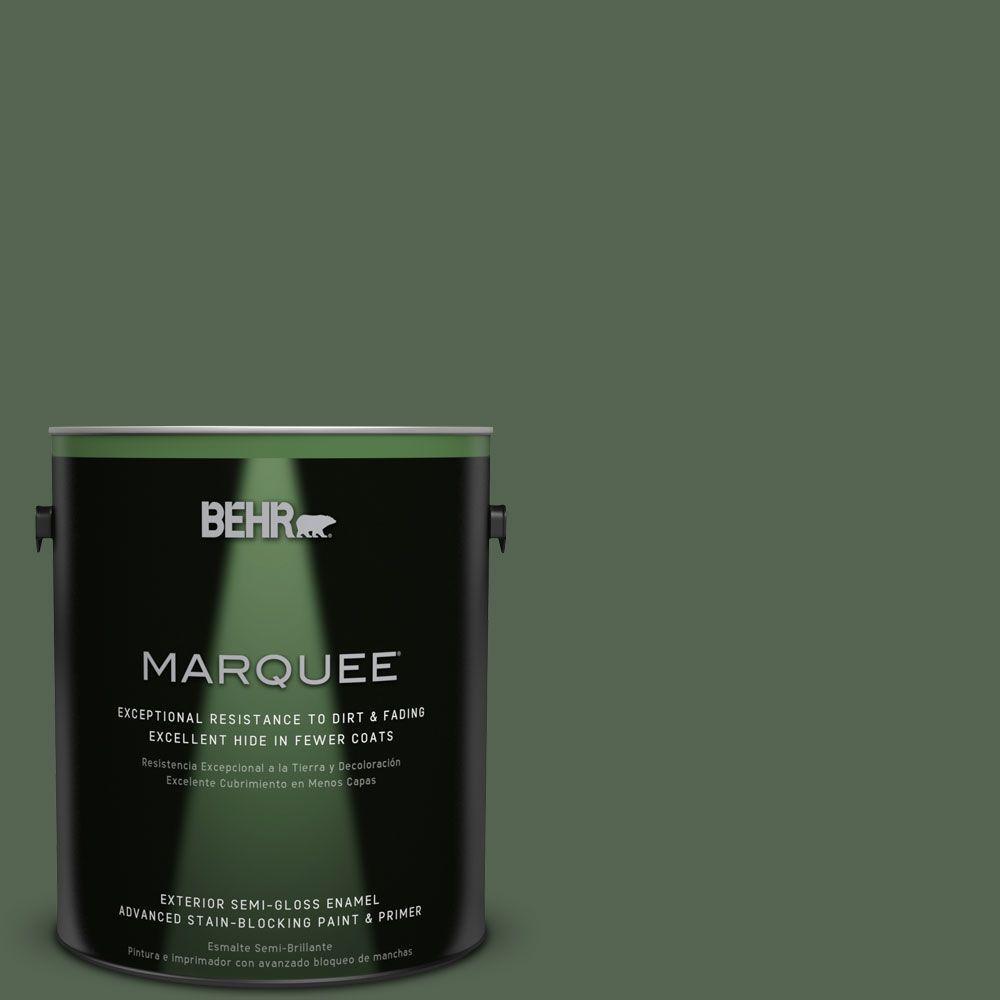 BEHR MARQUEE 1-gal. #S410-7 Equestrian Green Semi-Gloss Enamel Exterior Paint, Greens