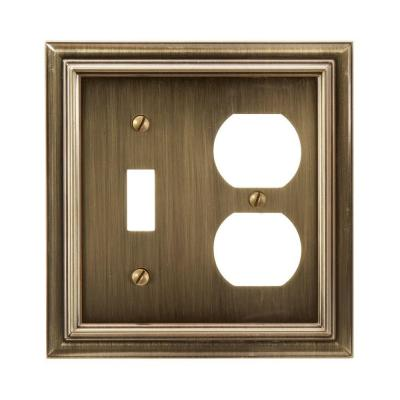 Continental 2 Gang 1-Toggle and 1-Duplex Metal Wall Plate - Brushed Brass