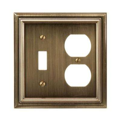 Continental 1 Toggle 1 Duplex Wall Plate - Brushed Brass