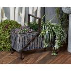 Litton Lane Gray and Brown Iron Planters (Set of 2)