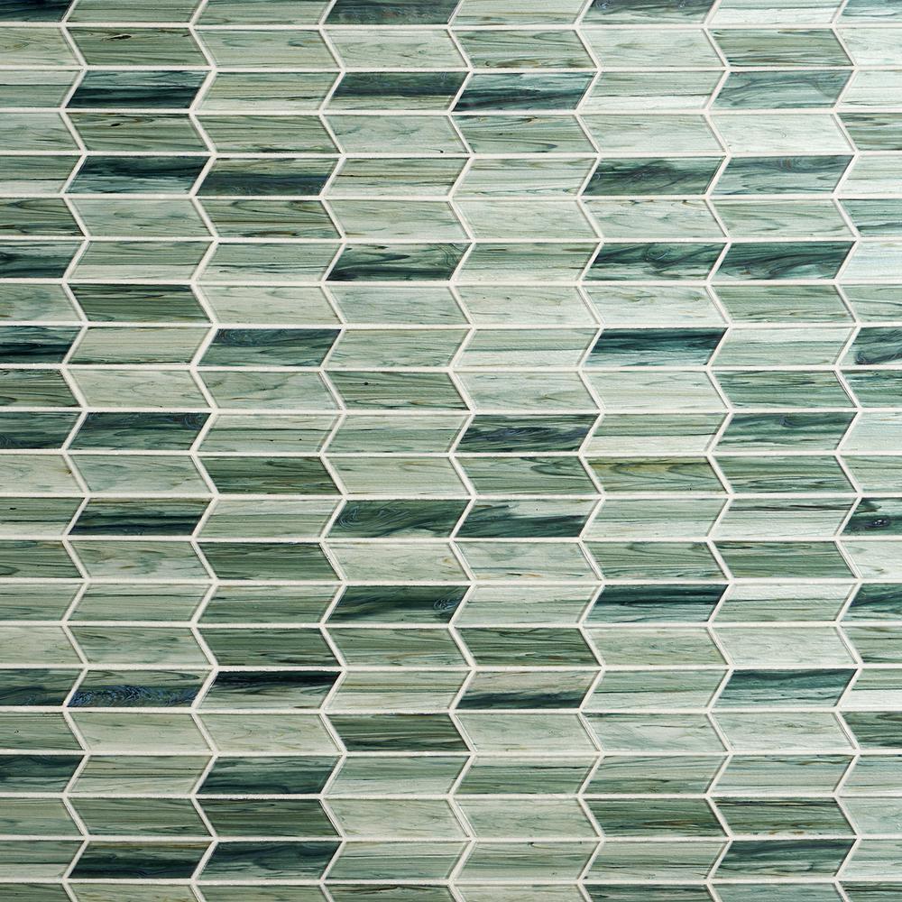 Tara Green 11.73 in. x 11.74 in. Chevron Glass Mosaic Tile (0.96 Sq. Ft. / Sheet)