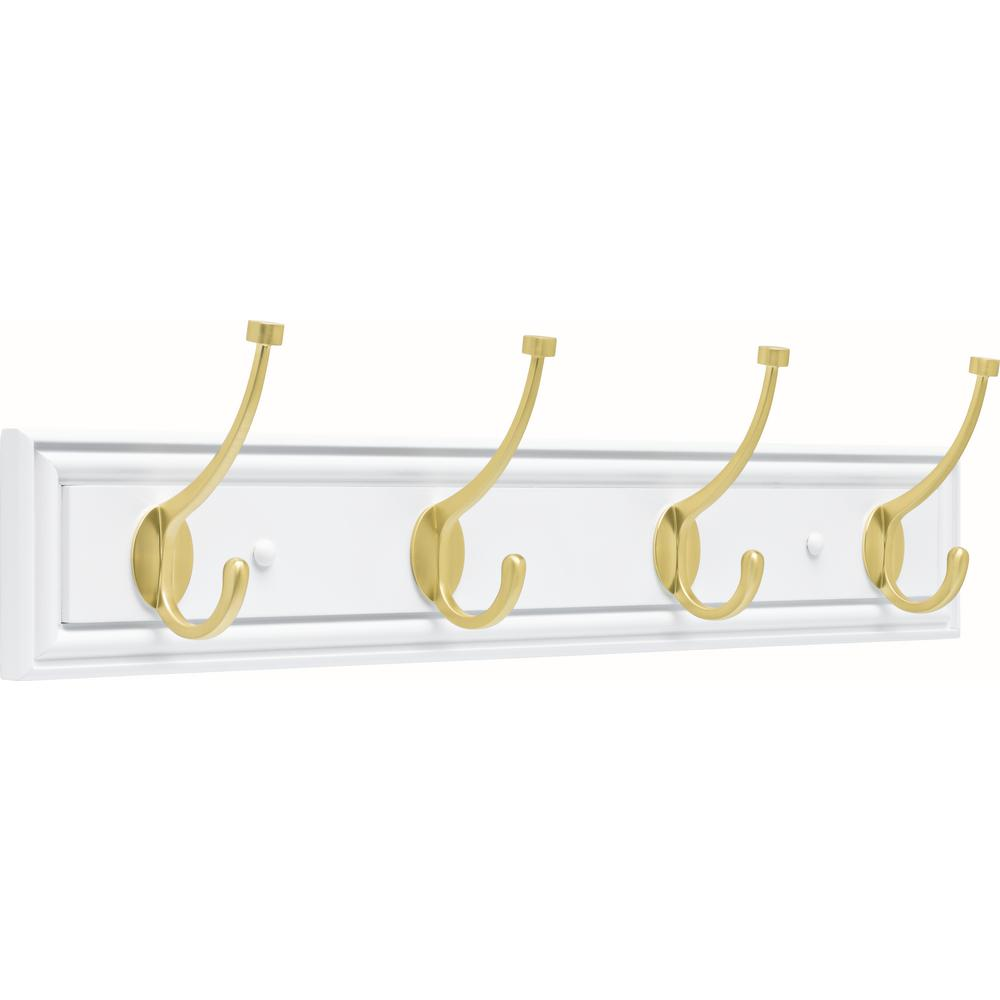 Liberty Galena 27 in. Pure White and Brushed Brass Pilltop Hook Rack