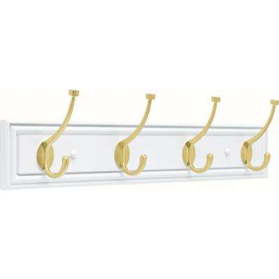 Galena 27 in. White and Brushed Brass Pilltop Coat and Hat Hook Rack