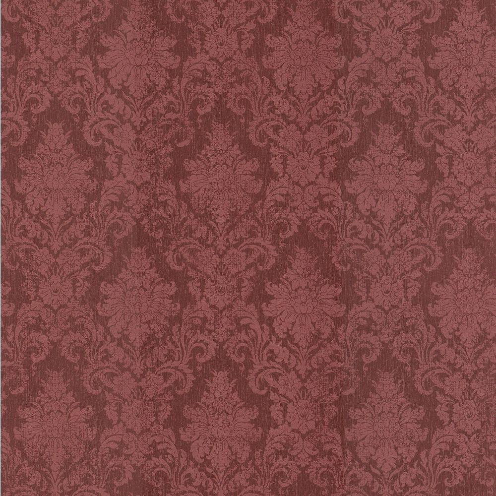 Brewster Madison Florals Red Damask Wallpaper Sample