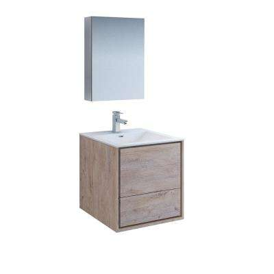 Catania 24 in. Modern Wall Hung Vanity in Rustic Natural Wood with Vanity Top in White with White Basin,Medicine Cabinet