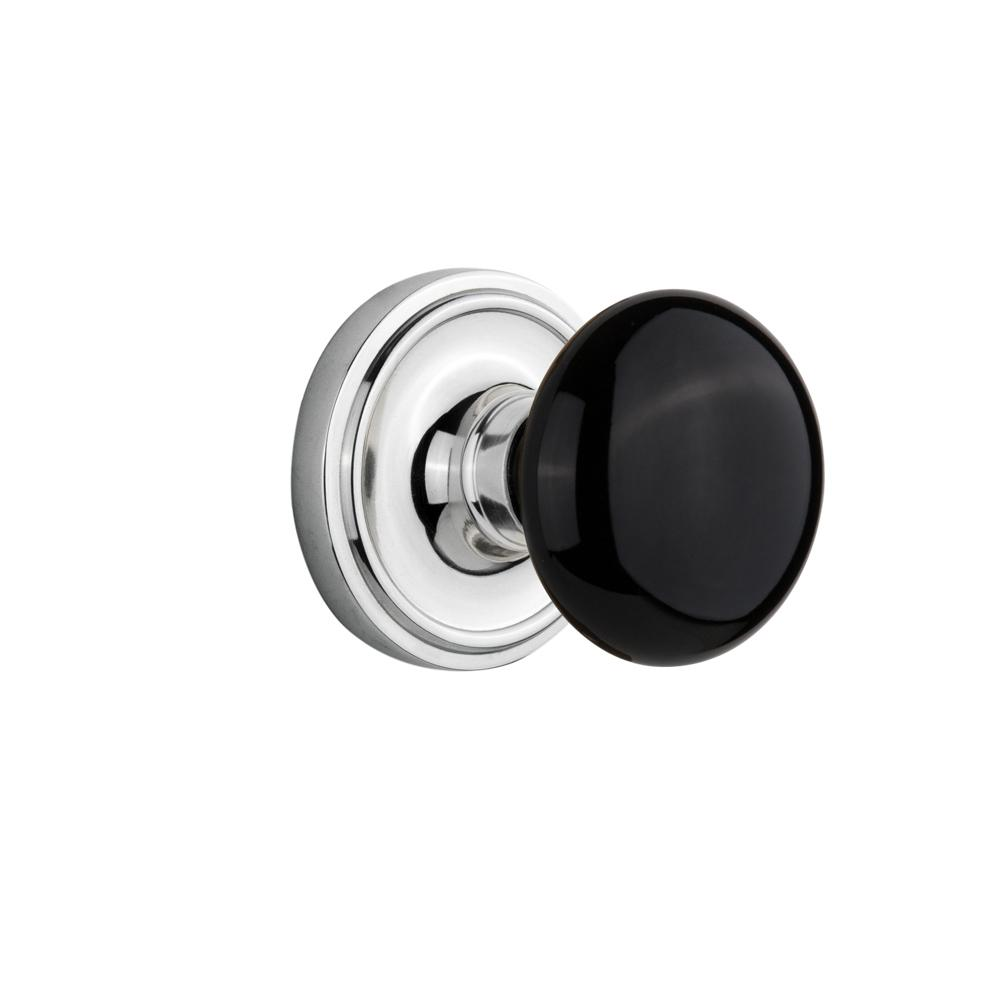 Nostalgic Warehouse Classic Rosette 2 3 4 In Backset Bright Chrome Privacy Bed Bath Black Porcelain Door Knob 713169 The Home Depot