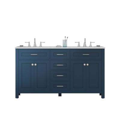 Norwalk 60 in. W x 34.2 in. H x 22 in. D Vanity in Blue with Marble Vanity Top in White with White Basin