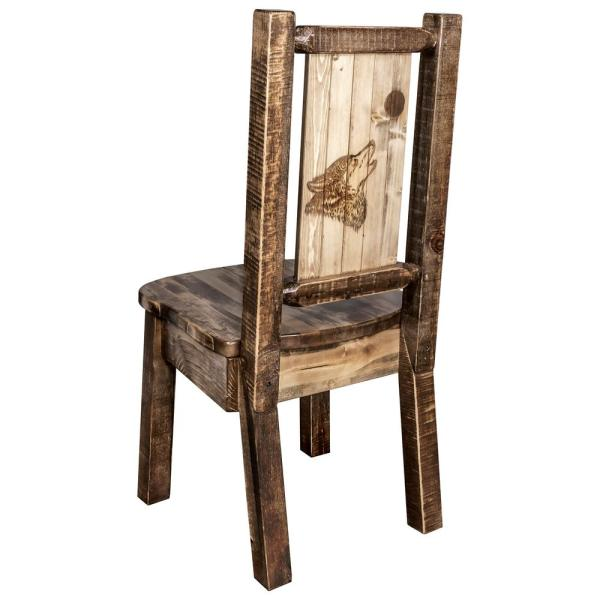 Homestead Collection Early American with Laser Engraved Wolf Design Dining Side Chair