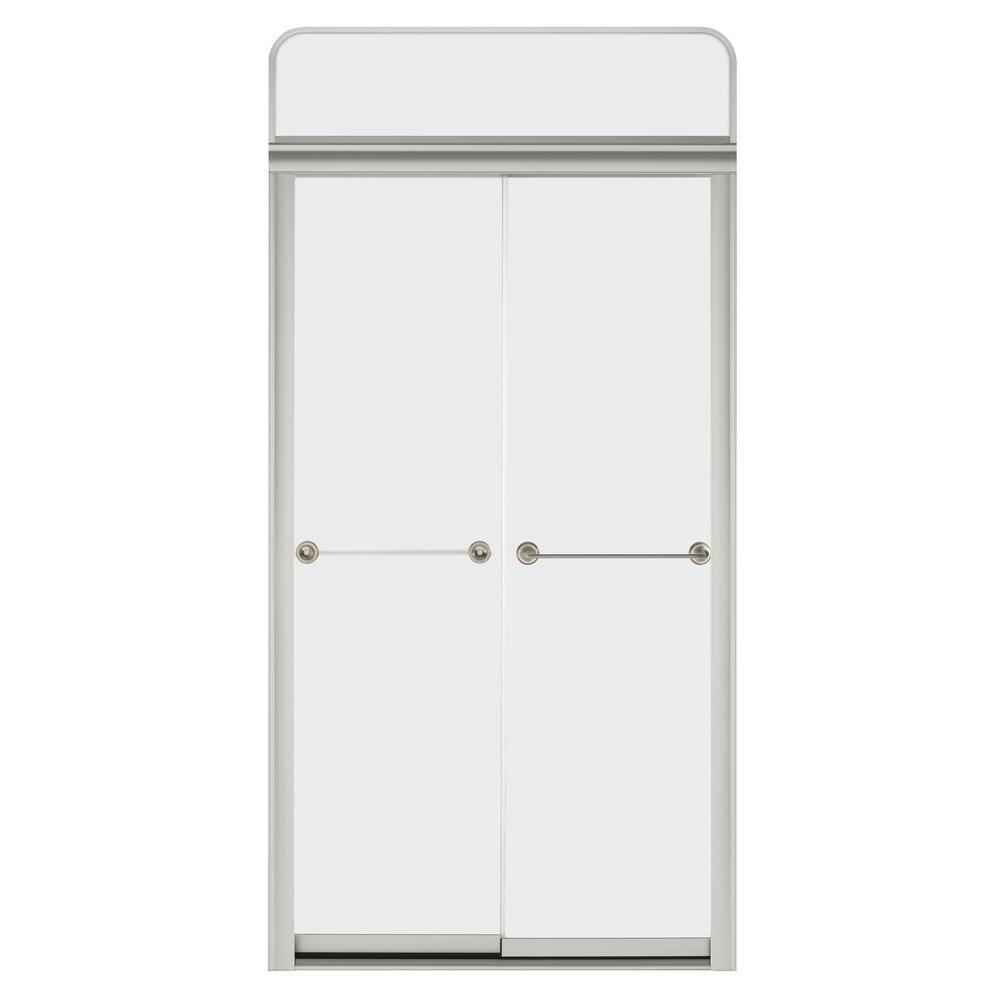 KOHLER Senza Steam Bypass Shower Door for Sonata 4 ft. Shower Module with Frosted Glass in Matte Nickel-DISCONTINUED
