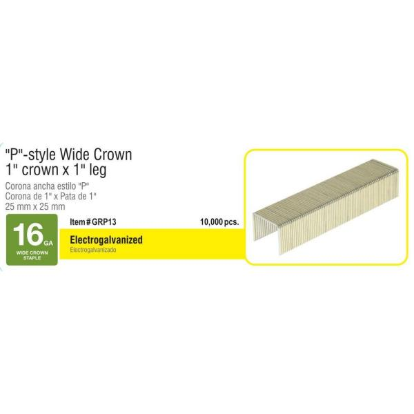 Steel 10,000-Pack Grip Rite Prime Guard GRP13 16-Gauge Galv P-Style Wide Crown Staples 1-inch by 1-inch