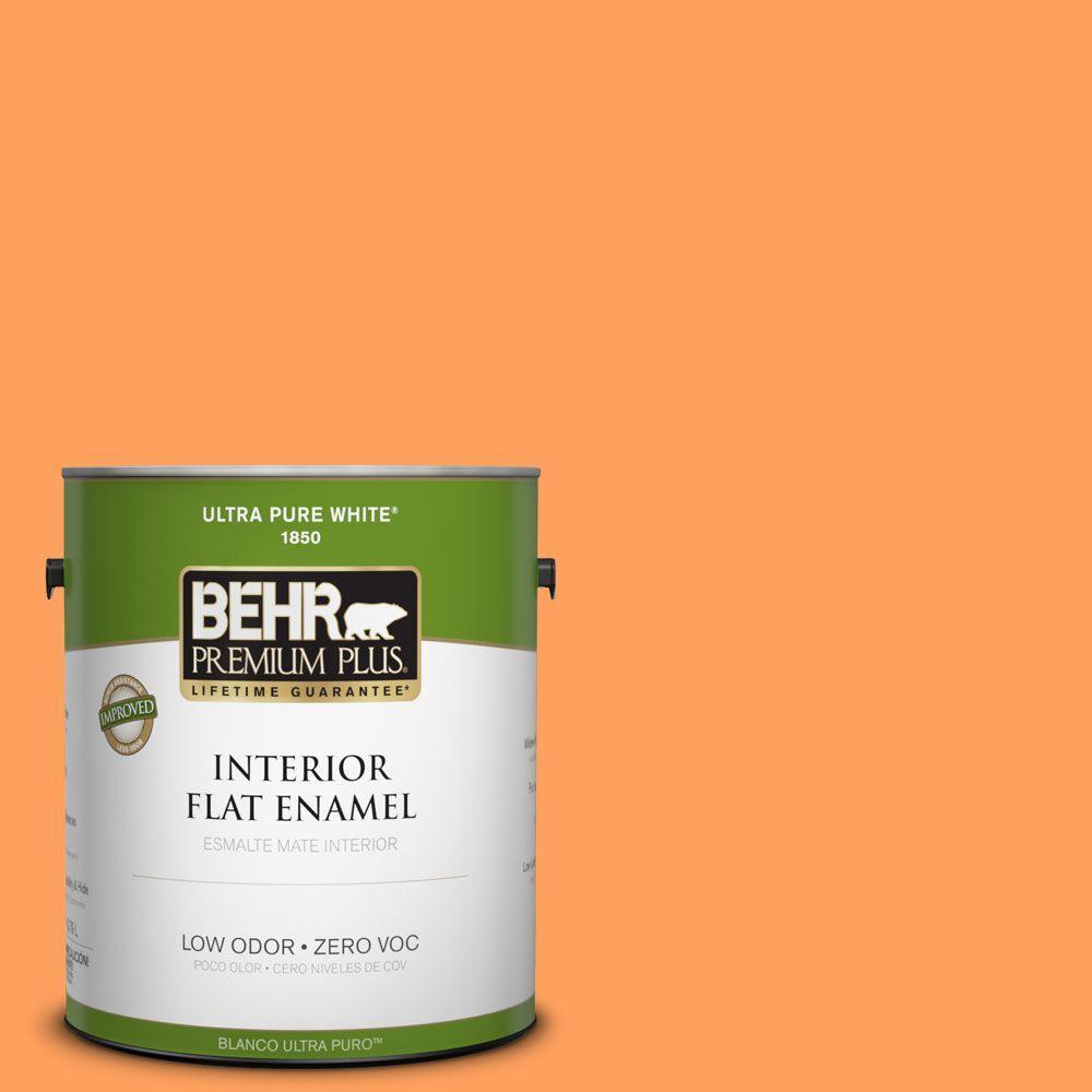 BEHR Premium Plus 1-gal. #250B-5 Orange Spice Zero VOC Flat Enamel Interior Paint-DISCONTINUED