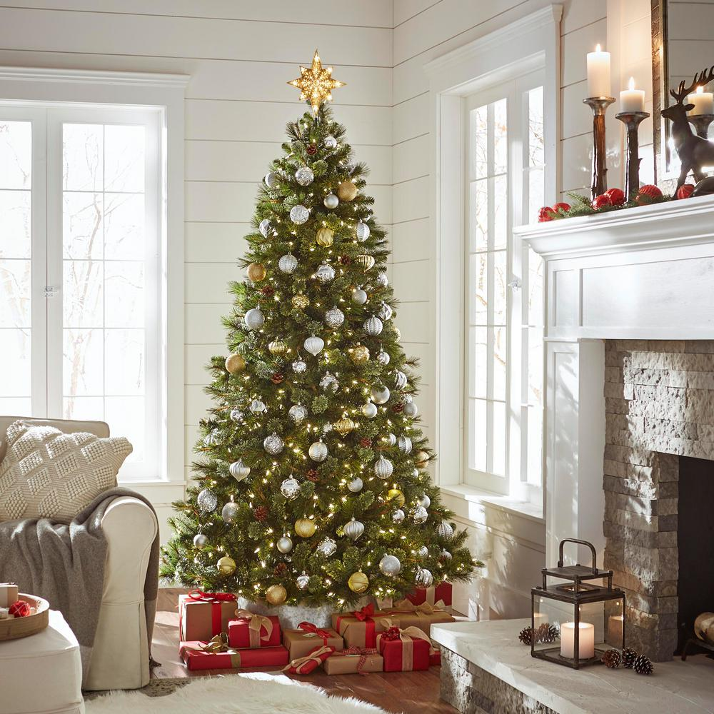 Christmas Branch Tree.Home Accents Holiday 7 5 Ft Pre Lit Led Pine Artificial Christmas Tree With 550 Warm White Lights