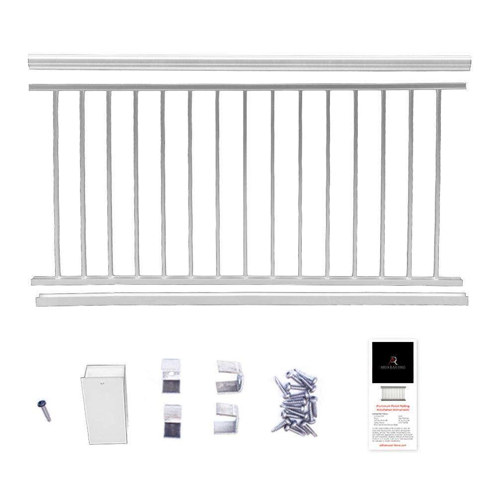42 in. x 6 ft. White Powder Coated Aluminum Preassembled Deck Railing