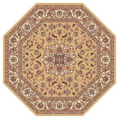 Classic Medallion Beige 7 ft. 7 in. x 7 ft. 7 in. Octagon Area Rug
