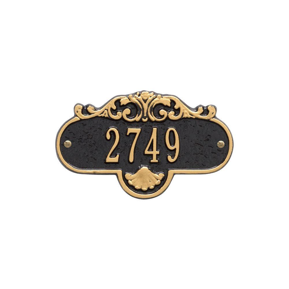 Whitehall Products Oval Rochelle Petite Black/Gold Wall 1-Line Address Plaque