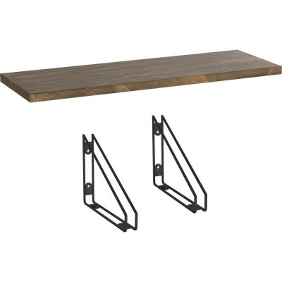 24 in. x 8 in. x 6 in. Medium Stained Solid Pine Decorative Wall Shelf with Matte Black Wire Frame Steel Brackets
