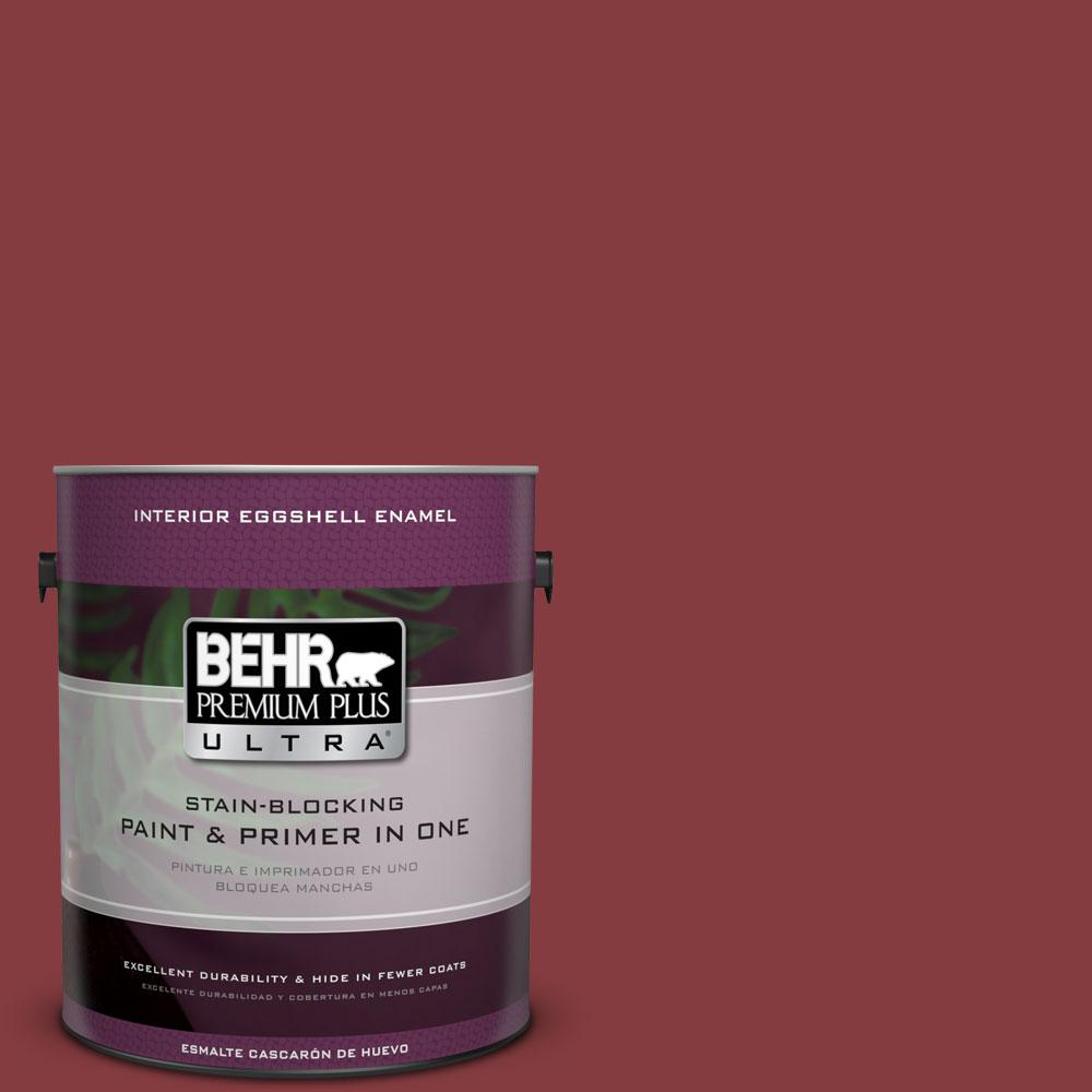 BEHR Premium Plus Ultra 1-gal. #M140-7 Dark Crimson Eggshell Enamel Interior Paint