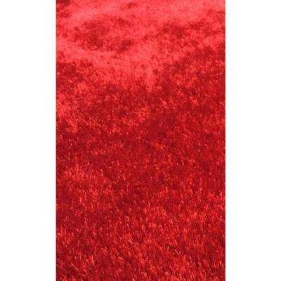 """""""Fuzzy Shaggy"""" Hand Tufted Area Rug in Red (5-ft x 7-ft)"""