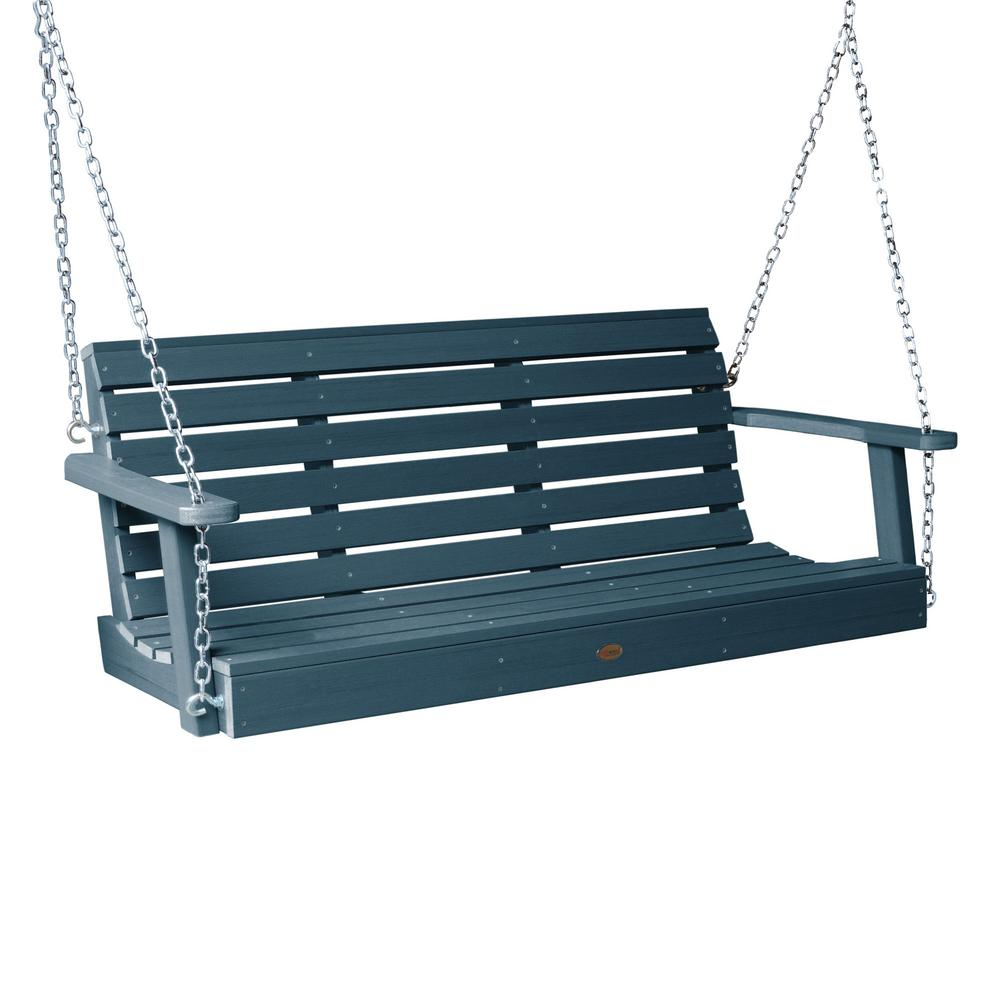 Highwood Weatherly 60 in. 2-Person Nantucket Blue Recycled Plastic Porch Swing