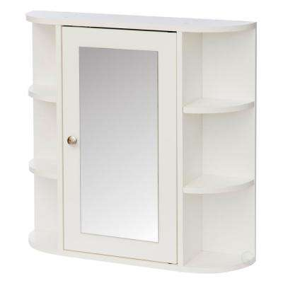 26 in. x 25 in. Surface Mount Medicine Cabinet Storage Organizer, Mirrored Vanity Chest with Open Shelves